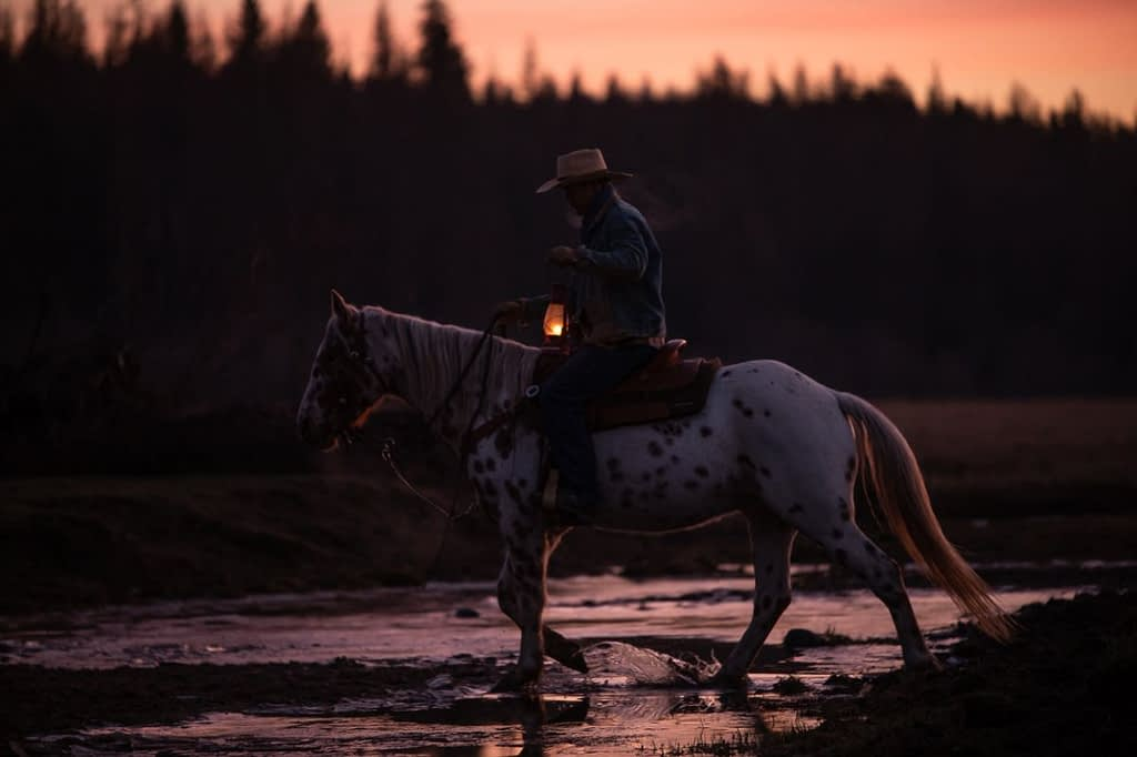 Western Pleasure Guest Ranch fall horseback riding horse and rider crossing a creek