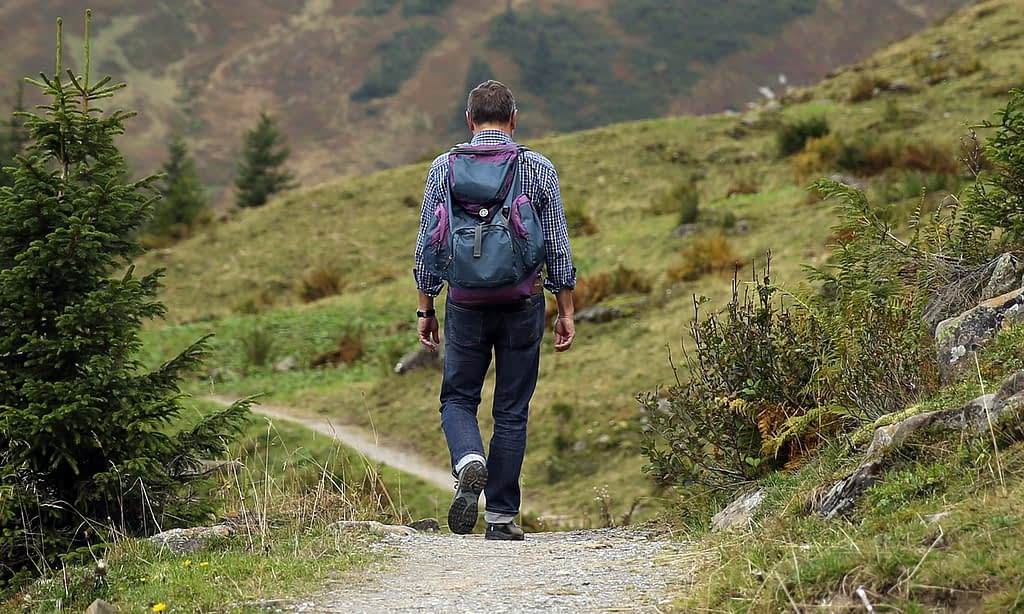 Man facing away, hiking on a trail