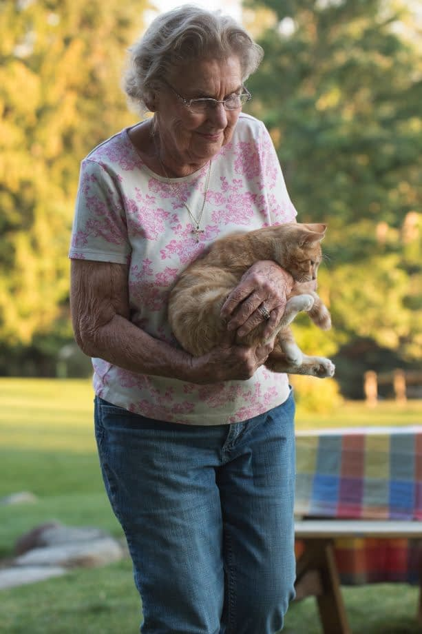 Senior woman in a pink shirt smiling and holding an orange kitten